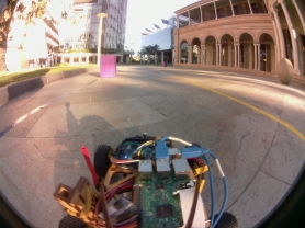 Fish eye view from one of the droids in the late evening